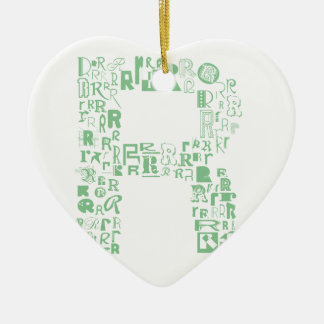 Font Fashion R Ceramic Heart Decoration