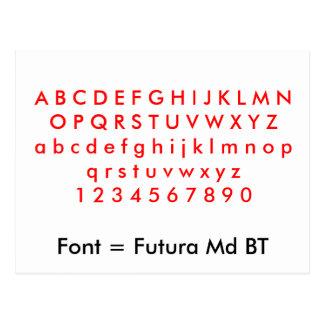 Font = Futura Md BT alphabet letters, digits Post Card