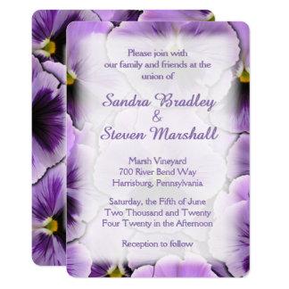Font hidden Purple Pansy Wedding Invitation