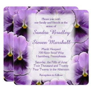 Font Purple Pansy Wedding Invitation