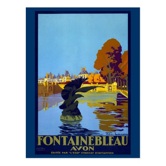 Fontainebleau, France Vintage Travel Poster Postcard