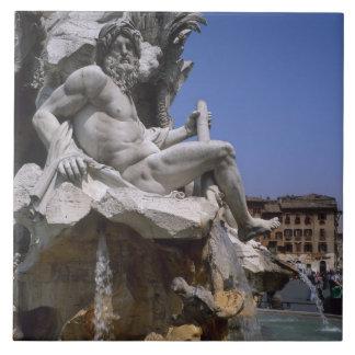 Fontana dei Quattro Fiumi, Piazza Navona, Rome, Large Square Tile