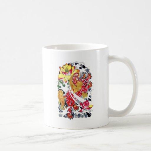 Foo Dog & Lotus Tattoo Design Coffee Mug