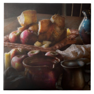 Food - A tribute to Rembrandt - Apples and Rolls Large Square Tile