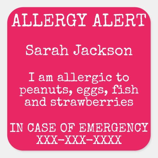 Food Allergy Alert In Case of Emergency Contact