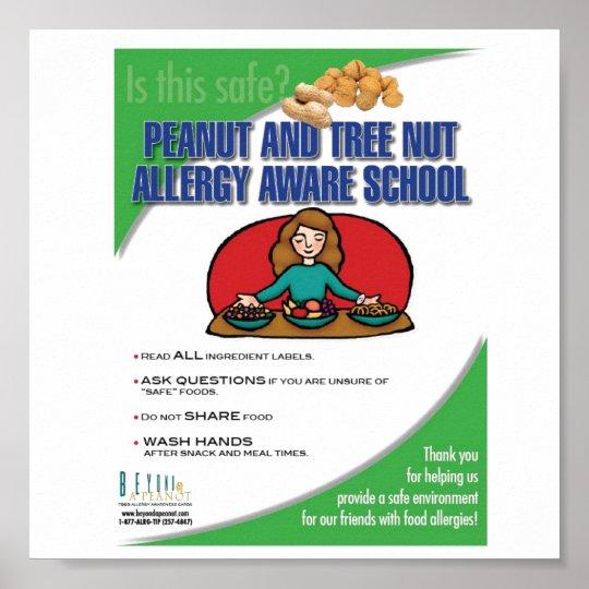 Food Allergy Aware School Poster Zazzle Co Uk