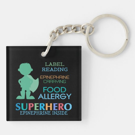 Food Allergy Boy Superhero Personalised Kids Key Ring