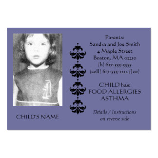 Food Allergy Identification Photo Contact Card Pack Of Chubby Business Cards