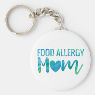 Food Allergy Mom Watercolor Typography Awareness Basic Round Button Key Ring