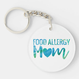 Food Allergy Mom Watercolor Typography Awareness Double-Sided Round Acrylic Key Ring