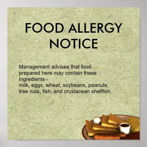 Food Allergy Notice Print