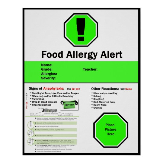 Food Allergy Poster for School