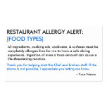 Food Allergy Restaurant & ICE Card Business Card Template
