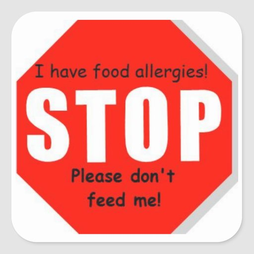 Food Allergy Stop Sign Stickers