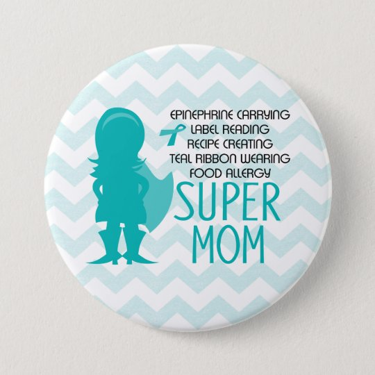Food Allergy Super Mum Silhouette Teal Button