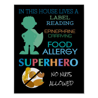 Food Allergy Superhero No Nuts Allowed Boys Poster
