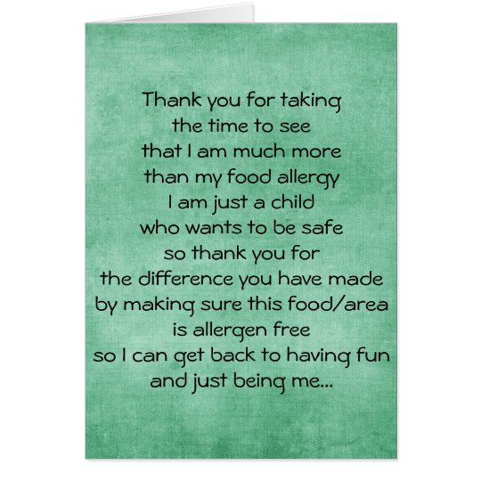 Food Allergy Thank You Card - Blank Inside