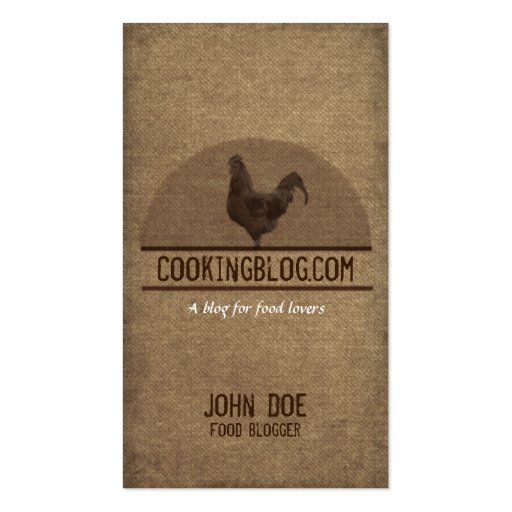 Food Blog Rooster Business Card