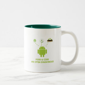 Food & Code Are Often Synonymous (Android) Two-Tone Coffee Mug