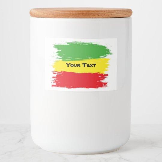 Food Container - Reggae Colour label customisable