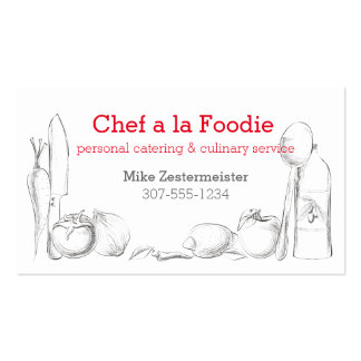 food cooking utensils chef catering business cards