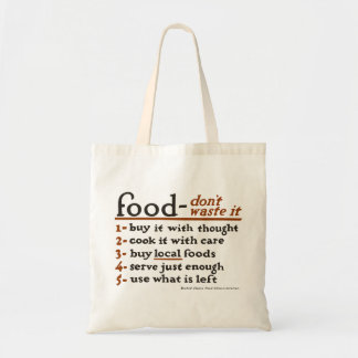 """""""Food—Don't Waste It"""" Economy Grocery Tote Bag"""
