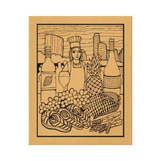 Food Festival Line Art Design By Suzy Joyner Canvas Print