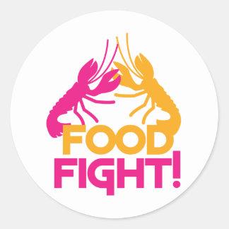 food fight! lobsters crayfish round sticker