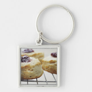 Food, Food And Drink, Buttermilk, Biscuit, Silver-Colored Square Key Ring