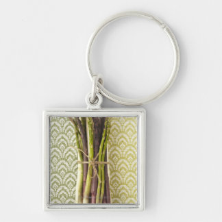 Food, Food And Drink, Vegetable, Asparagus, Silver-Colored Square Key Ring