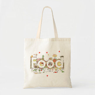 'Food' funny foodie creative text Budget Tote Bag