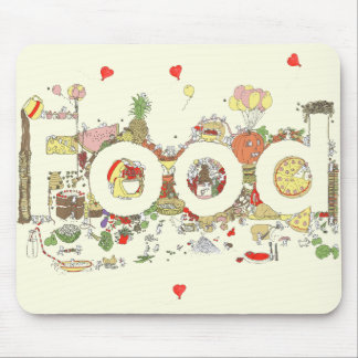 'Food' funny foodie creative text Mouse Pad