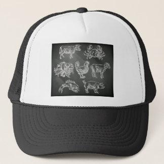 Food Groups Chalk Hand Drawn Animal Icons Trucker Hat