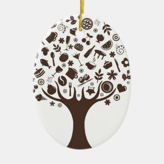 Food Growing On Trees Apple Fruit Coffee Tree Cake Ceramic Oval Decoration