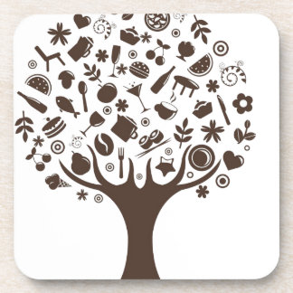 Food Growing On Trees Apple Fruit Coffee Tree Cake Drink Coaster