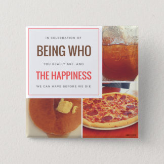 FOOD = HAPPINESS 15 CM SQUARE BADGE