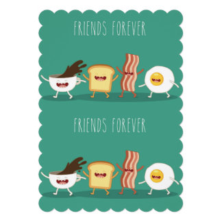 Food hipster,pattern,friends forever,egg,coffee, 13 cm x 18 cm invitation card
