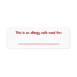 Food identification Label Return Address Label
