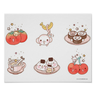 Food items displayed against white background poster