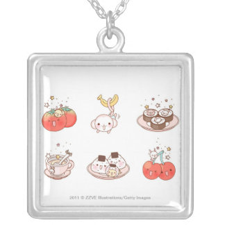 Food items displayed against white background silver plated necklace