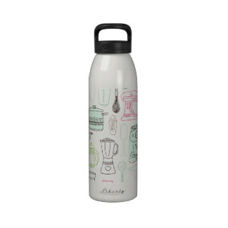 Food kitchen pattern water bottle