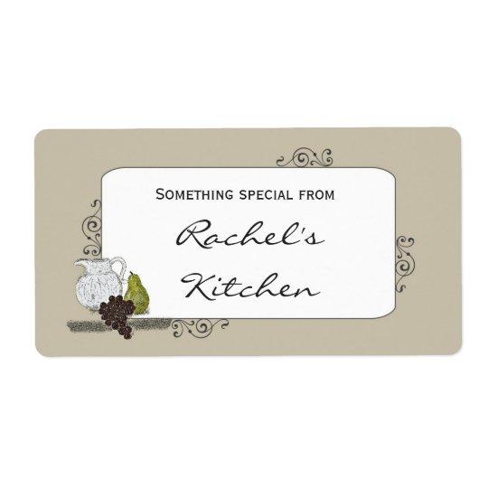 Food Label with Rustic Still Life Illustration