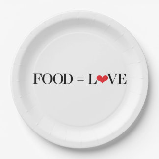 Food = Love 9 Inch Paper Plate