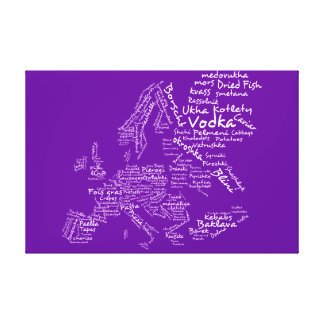 Food map of Europe - Aubergine purple Canvas Print