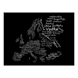 Food Map of Europe (Black) Poster