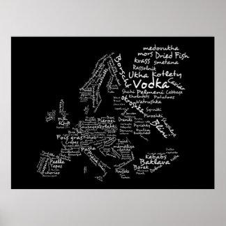 Food Map of Europe Black Poster