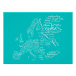 Food Map of Europe (Blue / Turquoise/ Teal / Aqua) Poster
