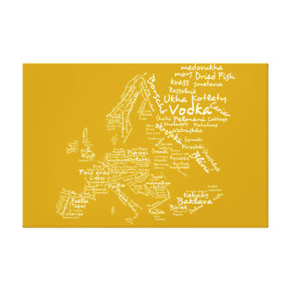 Food map of Europe - Mustard Yellow Canvas Print