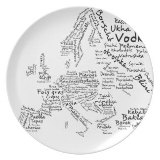 Food Map of Europe Plate