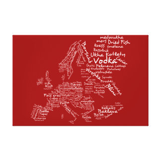 Food map of Europe - Red Canvas Print